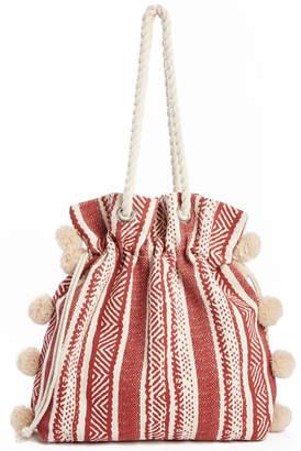 Tribal Mauve Pom Rope Tote Bag