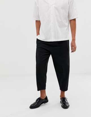 Asos volume tapered smart pants in black wool mix