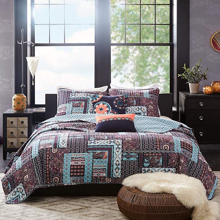 Woodblock Patchwork Reversible Quilted 5 Piece Set, King