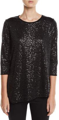 Caroline Rose Angled Sequin Tunic Top, Plus Size