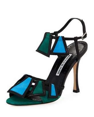 Manolo Blahnik Chamba Colorblock 105mm Sandal