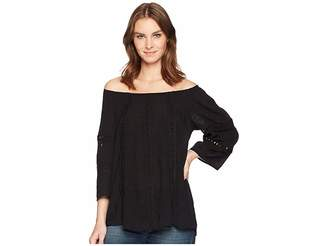Wrangler Off the Shoulder Top with Lace Insets Women's Clothing