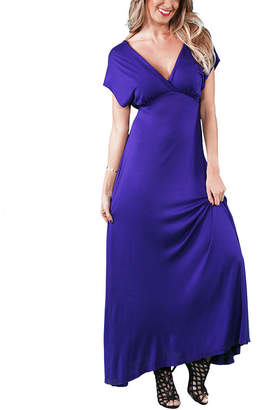 24/7 Comfort Apparel Faux Wrap Maxi Dress
