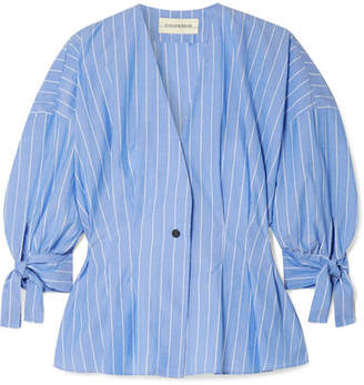 By Malene Birger Trivano Striped Cotton-poplin Blouse - Blue