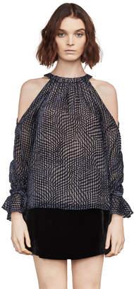BCBGMAXAZRIA Danica Velvet Cold-Shoulder Top