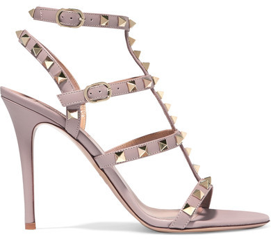 Valentino - Rockstud Embellished Leather Sandals - Blush
