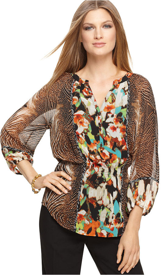 Calvin Klein Top, V Neck Three Quarter Mixed Printed Chiffon Blouse