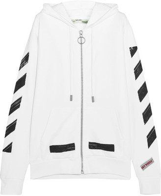 Off-White - Oversized Printed Cotton-jersey Hooded Sweatshirt $555 thestylecure.com