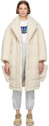 Sjyp White Sherpa Detachable Gloves Coat