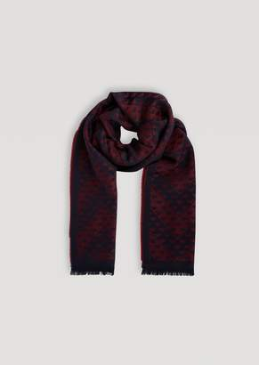 Emporio Armani Wool Blend Scarf With Frayed Edge And All-Over Logo