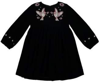 Stella McCartney Georgina Hummingbird Embroidered Velvet Dress