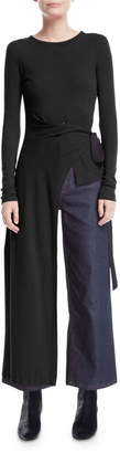Rosetta Getty Tie-Side Split Apron Long-Sleeve Tee