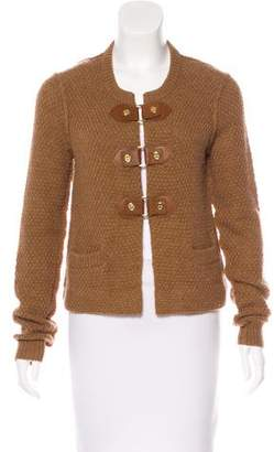 Tory Burch Leather-Accented Wool & Alpaca-Blend Cardigan
