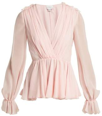 Giambattista Valli Gathered Silk Blouse - Womens - Pink