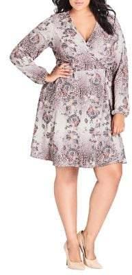 City Chic Plus Wild Lace Animal Print Dress