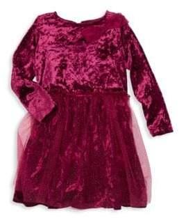 Little Girl's Crushed Velvet Glittered Dress