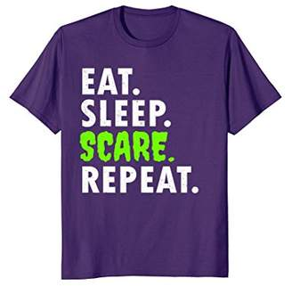 Eat Sleep Scare Repeat Halloween Party Haunted House T Shirt