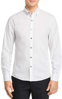 Michael Kors Dobby Top-Stitched Stripe Slim Fit Button-Down Shirt