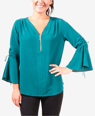 NY Collection Zipper-Neck Bell-Sleeve Top