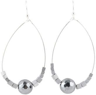 Barse Sterling Silver Hematite Beaded Front Facing Hoop Earrings