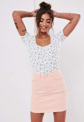 Missguided Floral Rib Scoop Neck Short Sleeve T Shirt