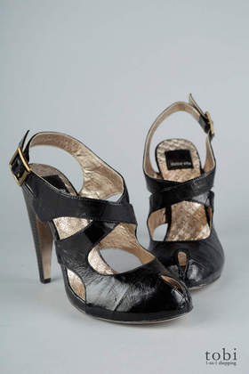 Dolce Vita Justin Leather Criss-Cross Peep Toe Heels in Black