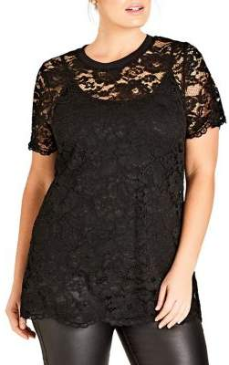 City Chic Plus Floral Lace Tee