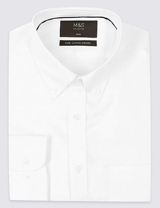 Marks and Spencer Pure Cotton Slim Oxford Shirt with Pocket