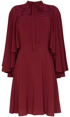 Giambattista Valli lace insert cape sleeve silk dress