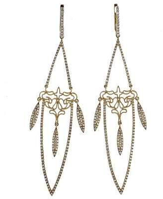 14K Yellow Gold & 1.29ct Diamond Long Dangle Earrings