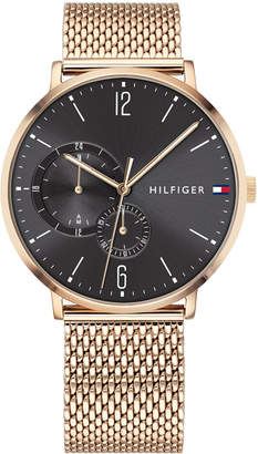 Tommy Hilfiger Men's Rose Gold-Tone Stainless Steel Mesh Bracelet Watch 40mm