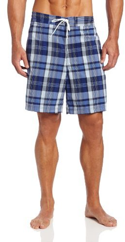 Nautica Men's Big-Tall Marine Plaid Swim Trunk