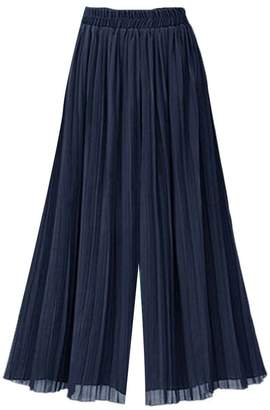 Etecredpow Womens Casual Plus Size Elastic Waist Wide Leg Culottes Palazzo Pants XXXXL