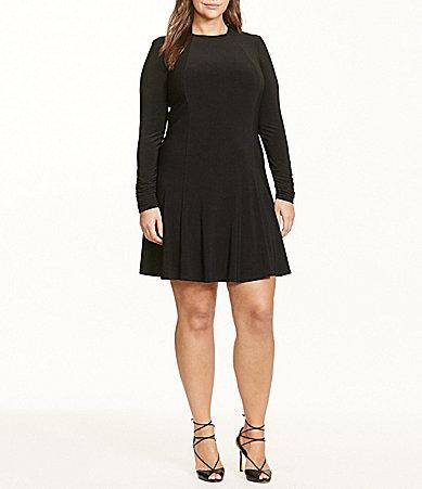 Lauren Ralph LaurenLauren Ralph Lauren Plus Long Sleeve Jersey A-Line Dress