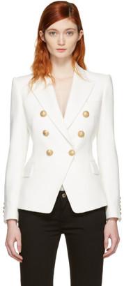 Balmain White Double-Breasted Blazer $2,230 thestylecure.com