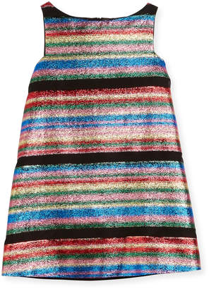 Milly Minis Multi-Stripe Illusion Lurex Shift Dress, Size 4-7