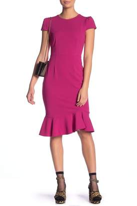 Betsey Johnson Scuba Crepe Ruffle Hem Dress