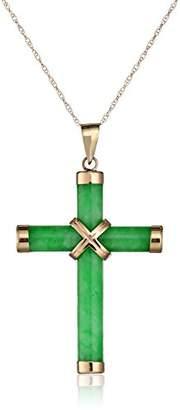 14k Yellow Gold Jade Tube Cross Pendant Necklace