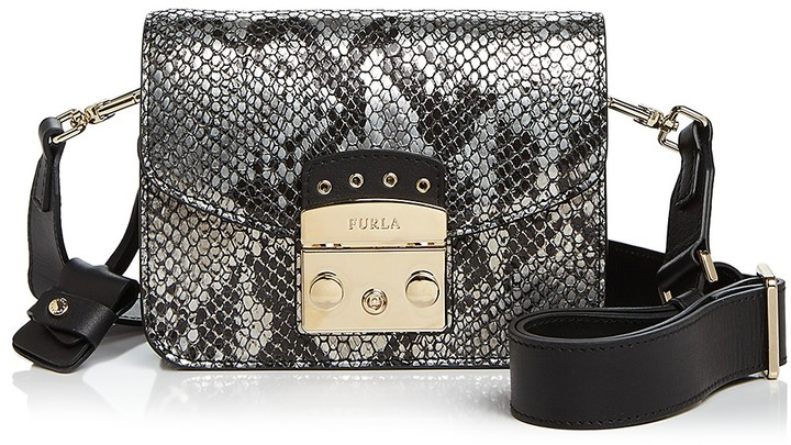 Furla Metropolis Mini Snake-Embossed Leather Crossbody