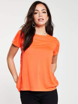 River Island Pleated Back T-Shirt- Orange