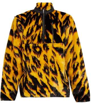 Aries - Tiger Print Faux Fur Half Zip Jacket - Mens - Multi