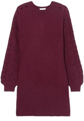 See by Chloe Crochet-trimmed Ribbed-knit Mini Dress