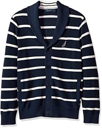 Nautica Men's Light Weight Long Sleeve Button Front Striped Cardigan