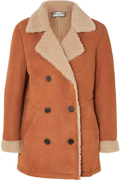Double-breasted Faux Fur-lined Suede Jacket - Brown