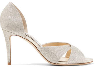 Jimmy Choo Lara 85 Glittered Leather Sandals - Platinum