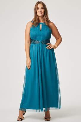 Little Mistress Curvy Louise Keyhole Lace Insert Maxi Dress