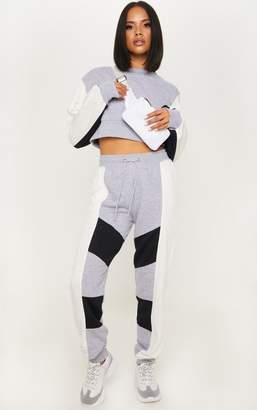 PrettyLittleThing Grey Contrast Panel Cuff Jogger