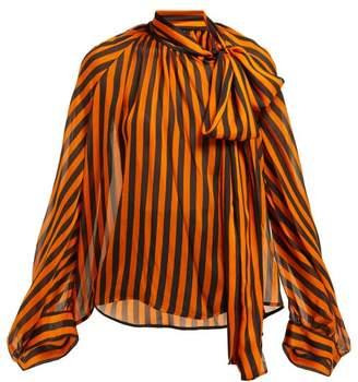 Petar Petrov Bride Striped Silk Pussybow Blouse - Womens - Black Orange