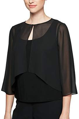 Alex Evenings Women's Chiffon High-Low Coverup with Spit Sleeve Detail