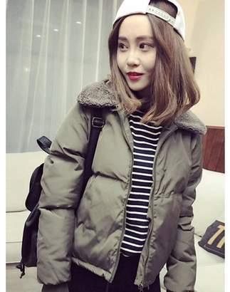 ICOCO Spring Autumn Winter Women Lambs Collar Down Cotton-Padded Jacket Short Coat